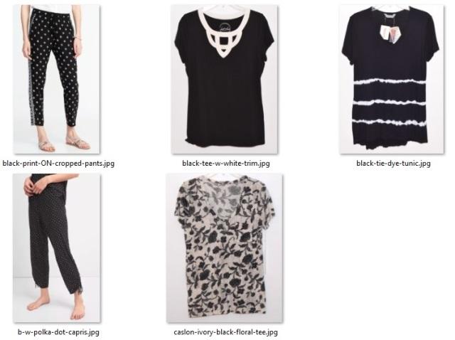 black and white non-striped items