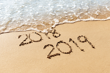 New Year 2019 replace 2018 on the sea beach concept