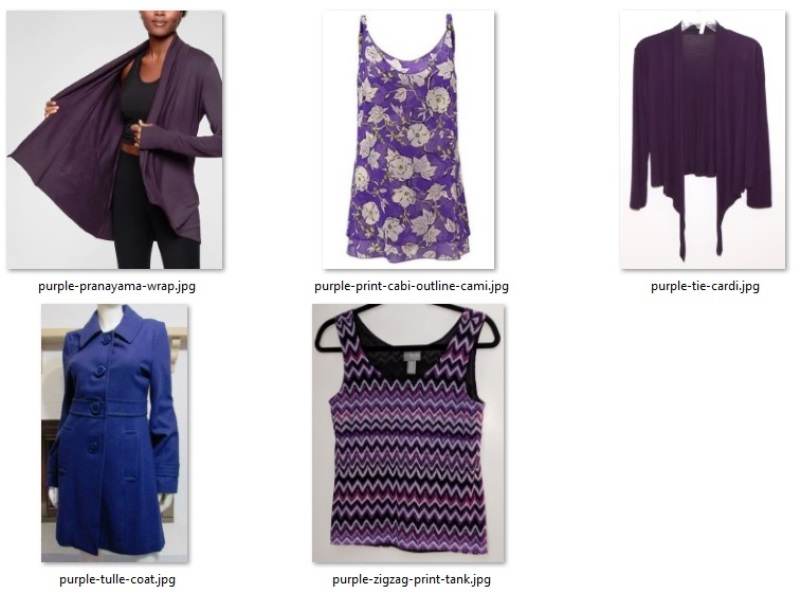 the purple items in my closet