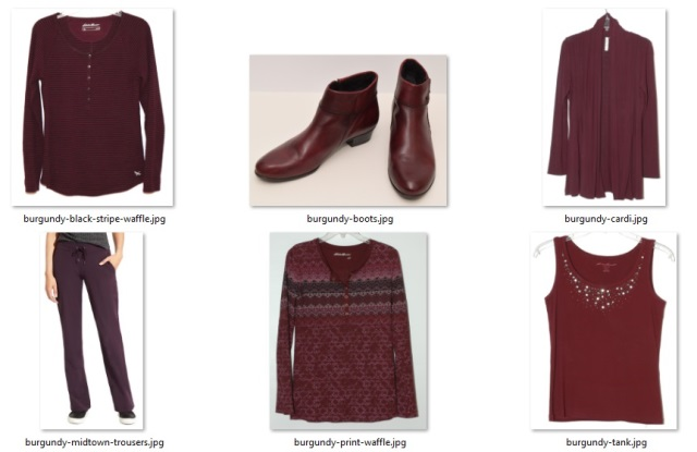 burgundy items