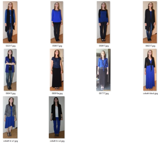 some of my favorite black and cobalt ensembles