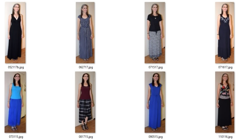 maxi-length skirt and dress ensembles