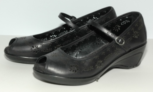 black White Mountain peep-toe Mary Janes