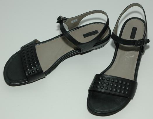 black Ecco flat sandals