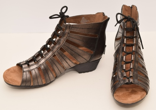 pewter Rockport caged sandals